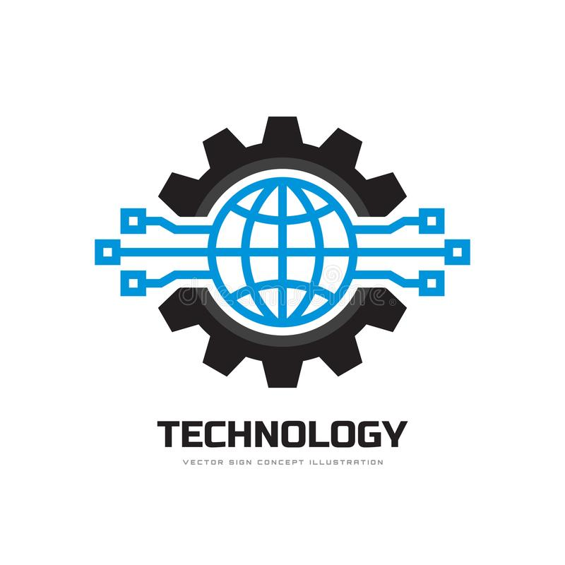 Technologie - illustration de vecteur de calibre de logo d'affaires de concept Symboles du monde et de vitesse de globe Signe de  illustration stock