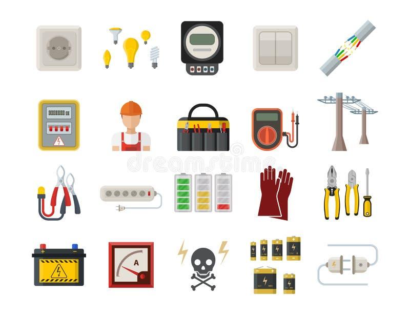 Technologie industrielle de prise de tension d'électricien d'illustration de vecteur de batterie d'icônes de puissance de l'élect illustration libre de droits