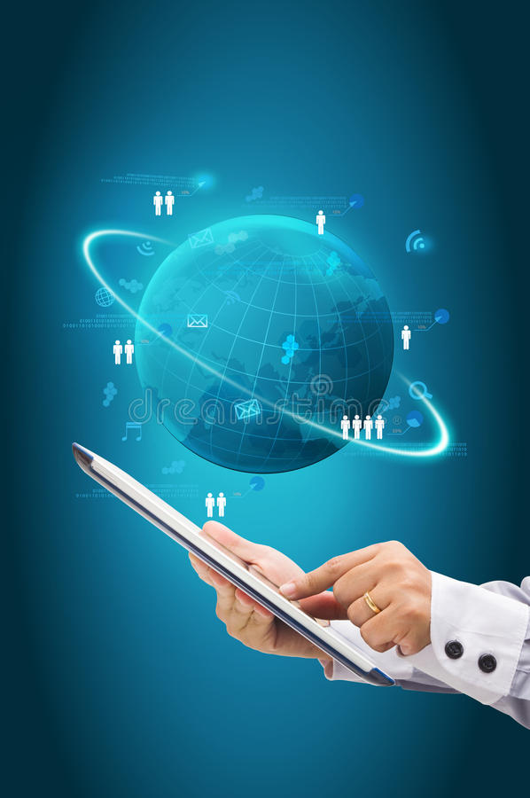 Technologie informacyjne biznesowy pojęcie, sieć proces diagram ilustracji