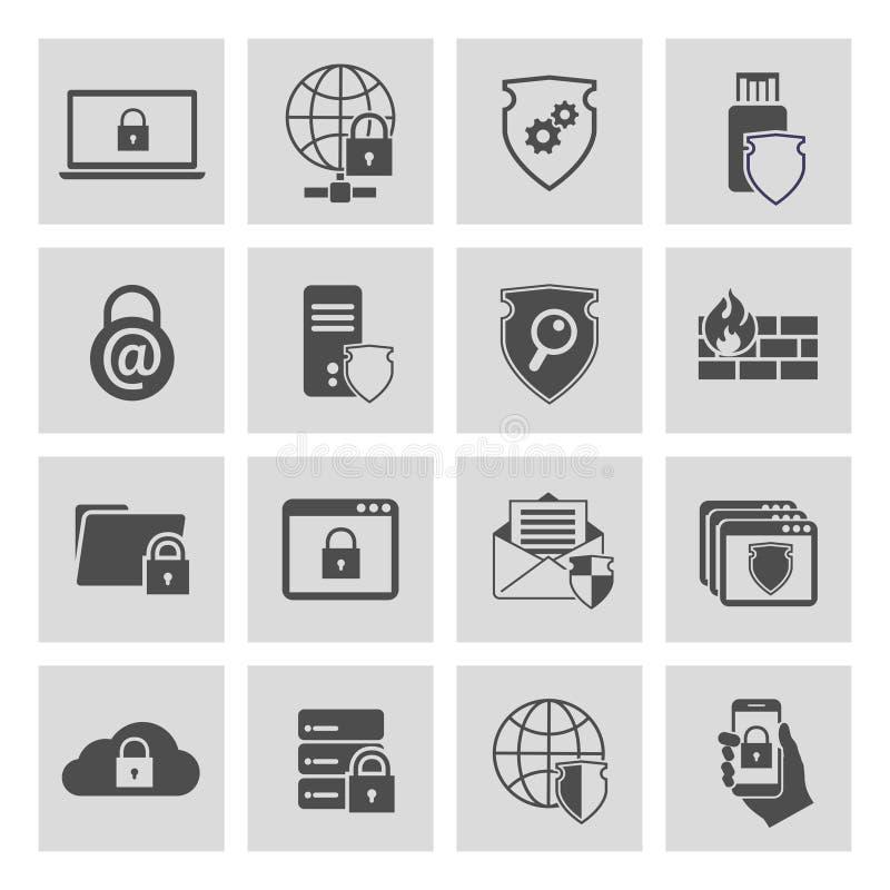Technologie informacyjne ochrony ikony ustawiać ilustracja wektor