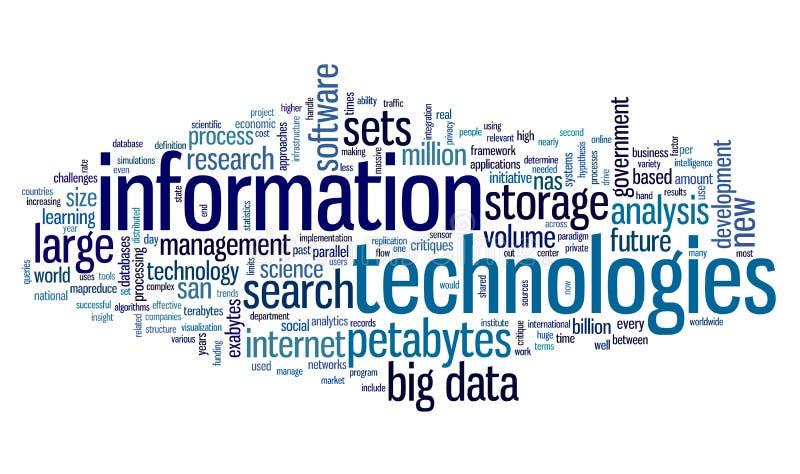 Technologie informacyjne w etykietki chmurze ilustracji