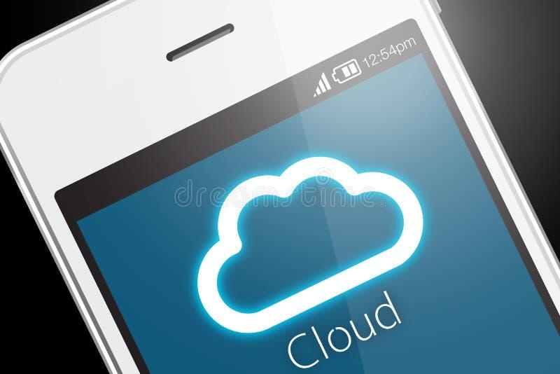 Technologie informatique de nuage avec le smartphone sur le fond foncé photo libre de droits
