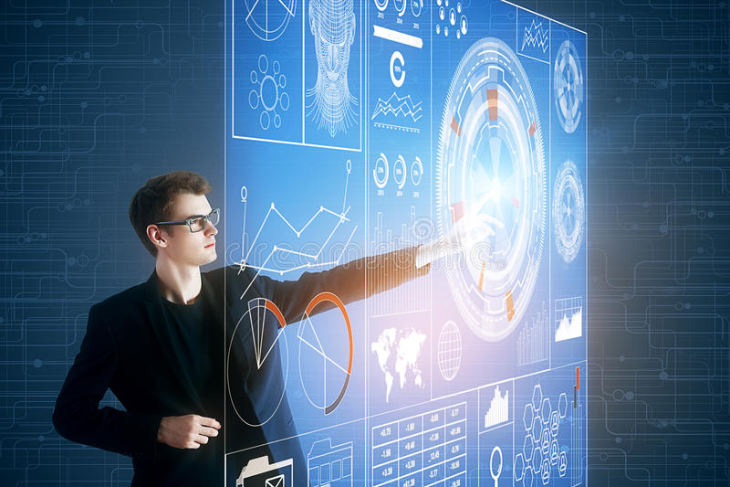 Technologie, innovatie en financiënconcept royalty-vrije stock foto