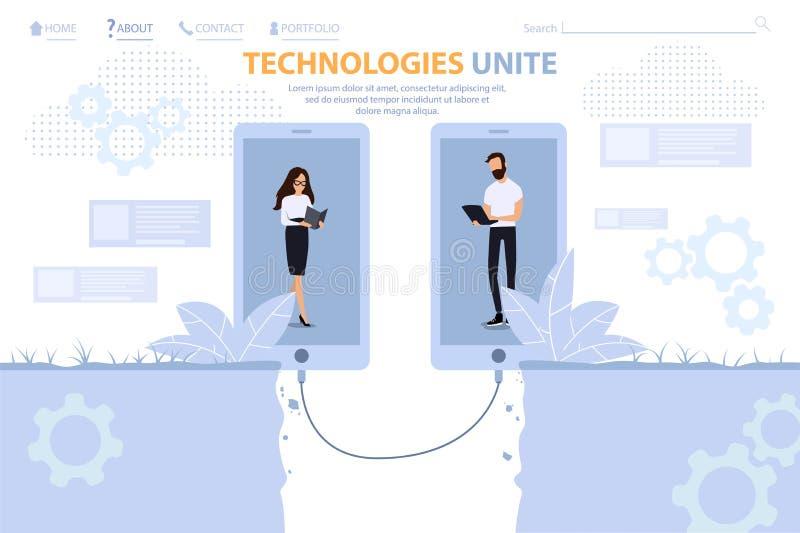 Technologie Jednoczą dla Biznesowej Promo lądowania strony ilustracji