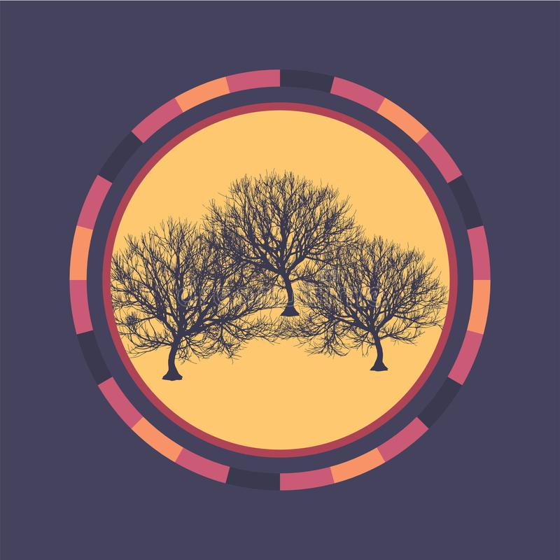 Technologie kleurrijke ronde achtergrond met boom Abstracte digitale illustratie Het concept van de aansluting Elektronisch rond  royalty-vrije illustratie