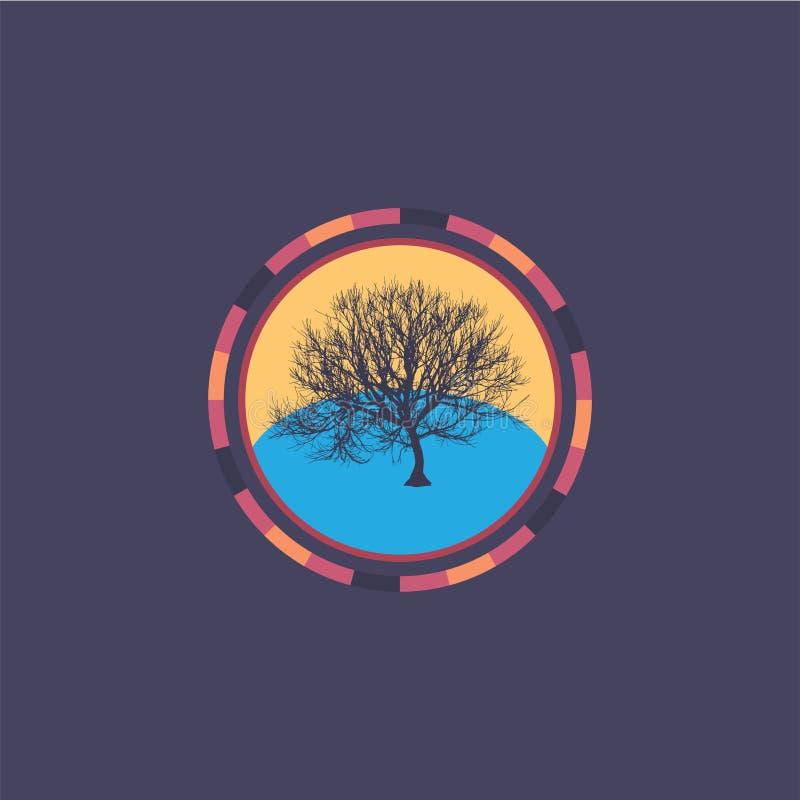 Technologie kleurrijke ronde achtergrond met boom Abstracte digitale illustratie Het concept van de aansluting Elektronisch rond  vector illustratie