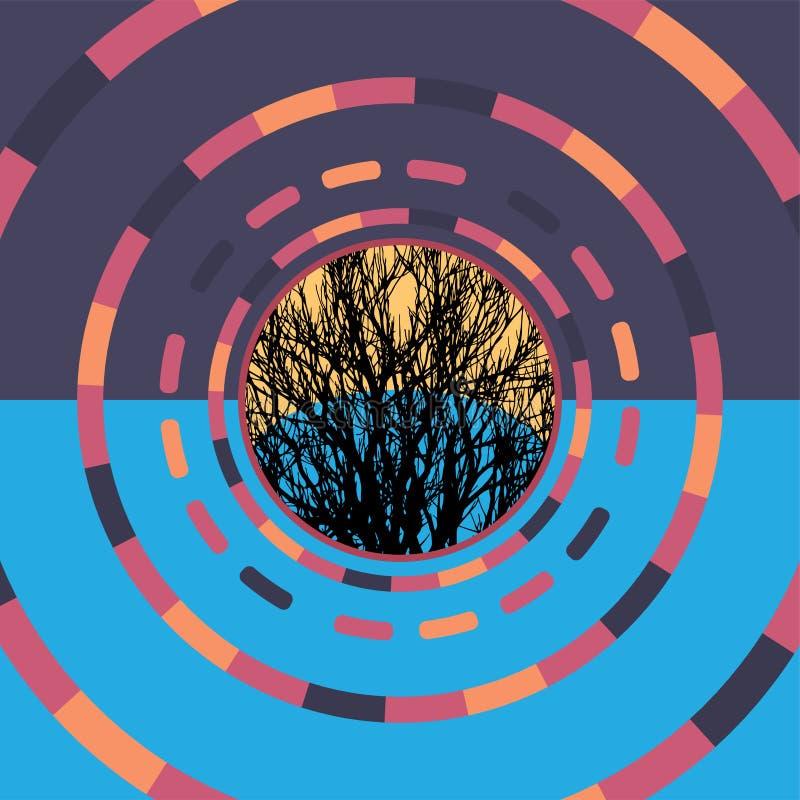 Technologie kleurrijke ronde achtergrond met boom Abstracte digitale illustratie Het concept van de aansluting Elektronisch rond  stock illustratie