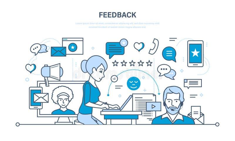Technologie, Kommunikationen, technische Unterstützung und Feedback, lösende Fragen, Analyse, Bewertung vektor abbildung