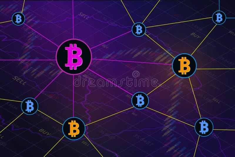 Technologie-Konzeptfahne Blockchain-cryptocurrencies globalen Netzwerks vektor abbildung