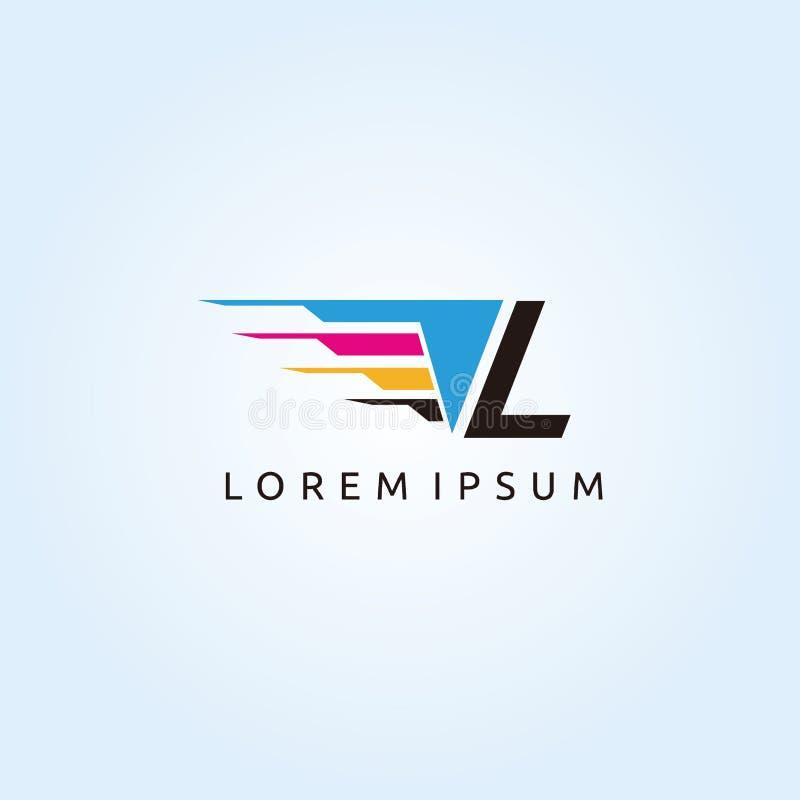 Technologie L logo d'impression de Digital de lettre de CMYK illustration libre de droits