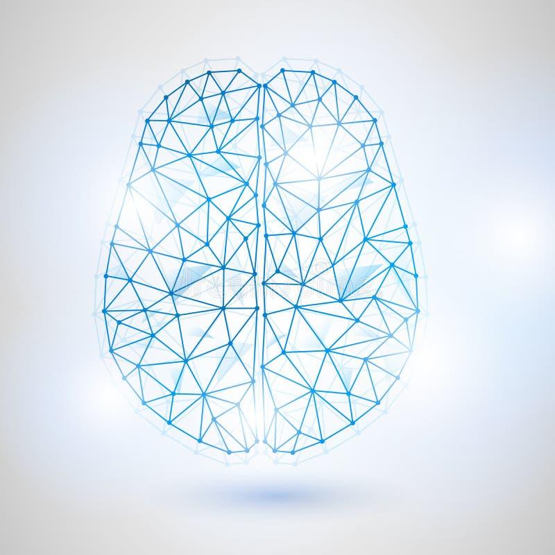 Technologie Laag Polyontwerp van Menselijke Hersenen met Binair getal cijfer-2 stock illustratie