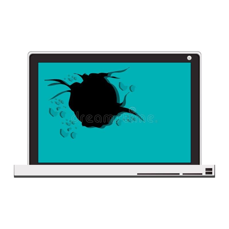 Technologie-laptop met het gebroken scherm vector illustratie