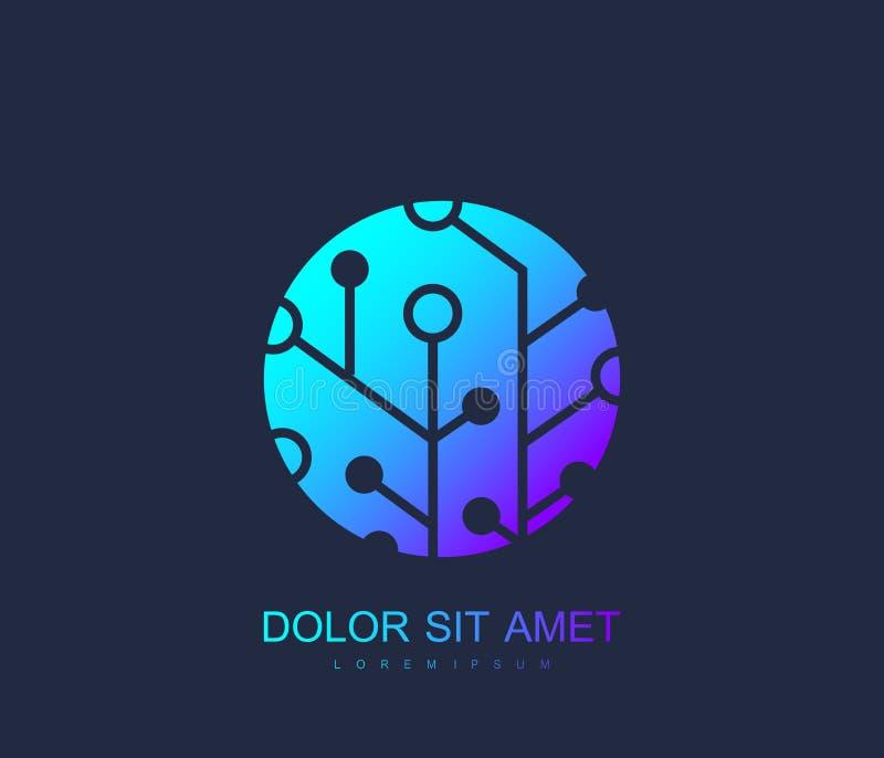 Technologie-Leiterplatte Logo Template Wissenschaftliche Firmenzeichen-Konzept-Ikone, Technologie-Vektor-Zeichen stock abbildung