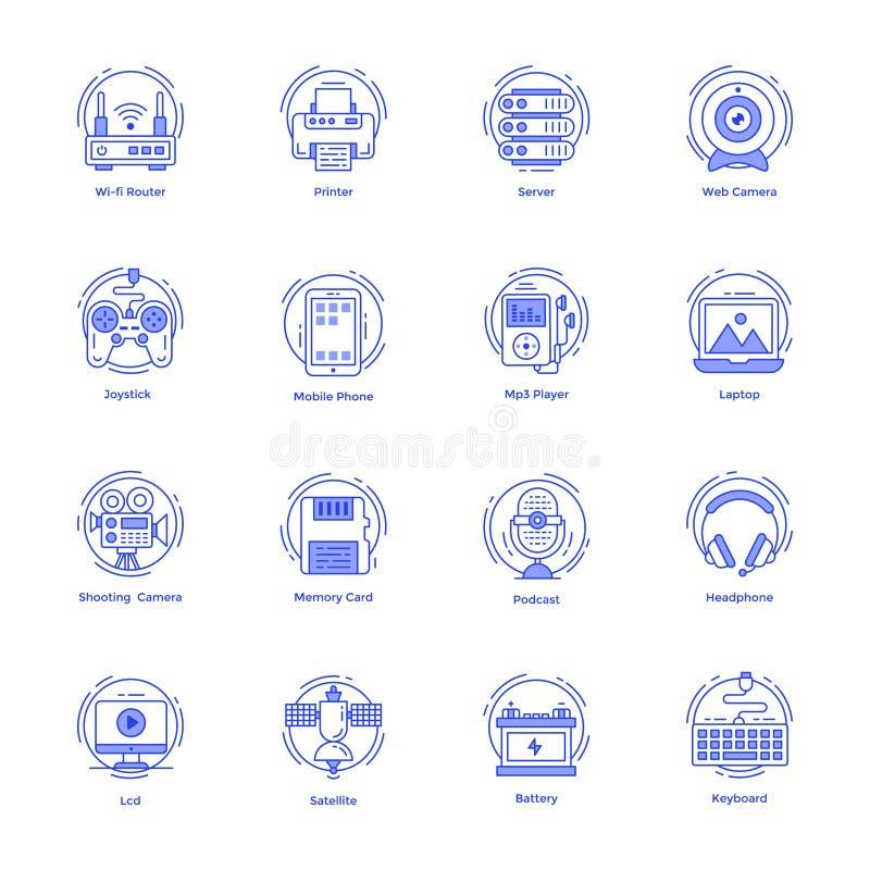 Technologie-Linie Ikonen verpacken stock abbildung
