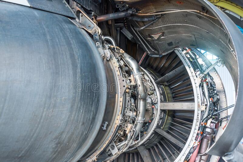 Technologie lotnicze z silnikami turbinowymi, szczegóły dotyczące silników odrzutowych statków powietrznych w charakterystyce zdjęcie royalty free