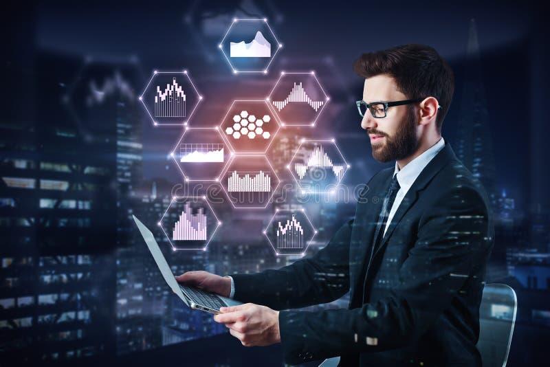 Technologie, mededeling en media concept stock foto