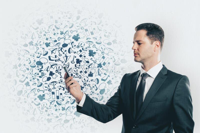 Technologie, mededeling en workshopconcept royalty-vrije stock afbeelding