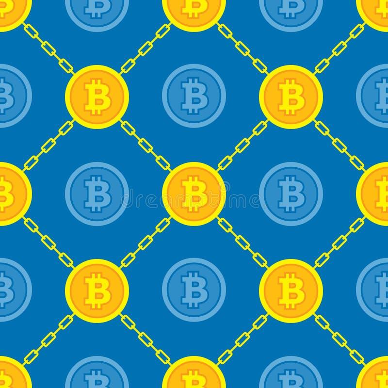 Technologie moderne de blockchain de Bitcoin - modèle sans couture de fond créatif de vecteur Symbole numérique de concept d'arge illustration stock