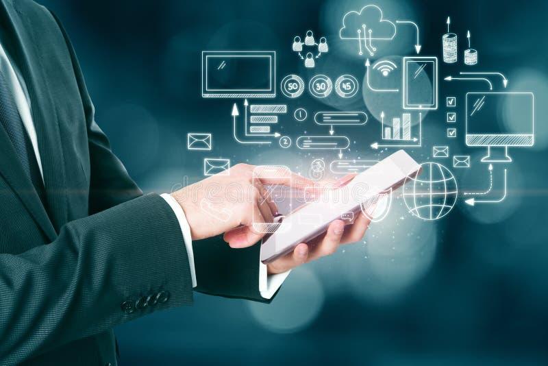 Technologie, netwerk en communicatie concept royalty-vrije stock foto