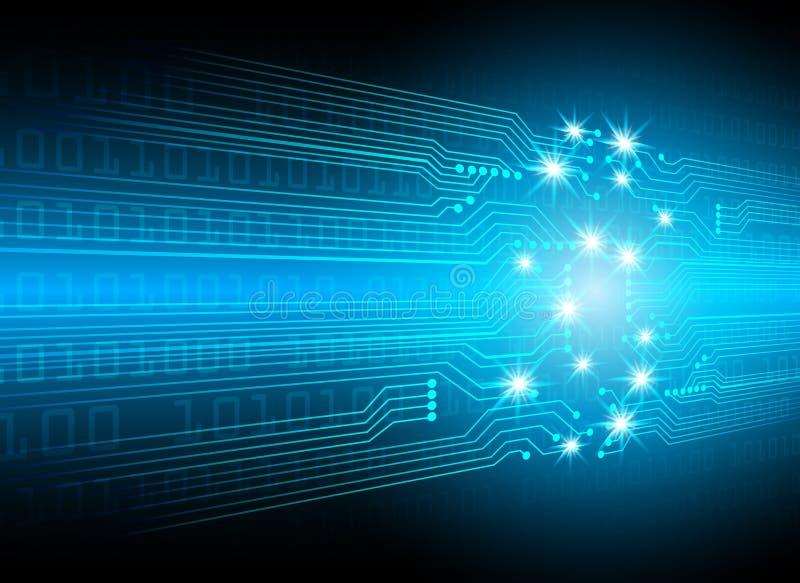 Technologie numérique abstraite de vitesse de cyber salut, conce de sécurité de cyber illustration de vecteur
