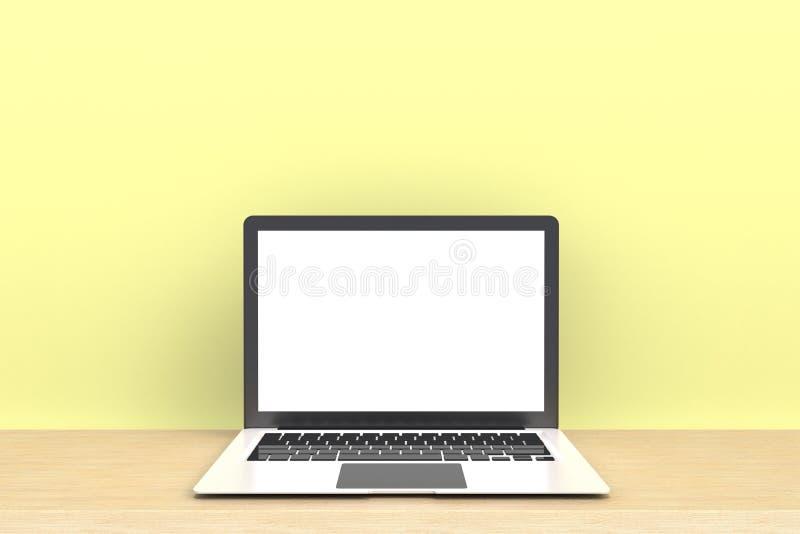 Technologie numérique de connexion de réseau informatique, écran vide blanc d'ordinateur portable sur la vue de face en bois de t photos libres de droits