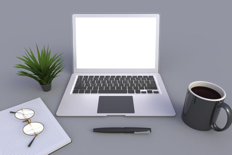 Technologie numérique de connexion de réseau informatique, tasse de café avec le carnet sur le fond gris de table illustration stock