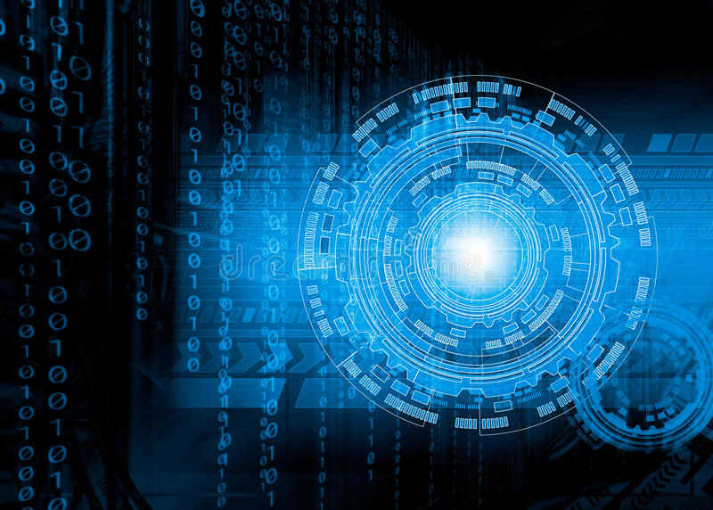 Technologie numérique Fond futuriste abstrait avec des cartes, des diagrammes et des anneaux photographie stock libre de droits