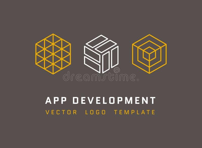 Technologie, ontwikkeling, architectuur, de vectordieemblemen van de spelstudio in lijnstijl worden geplaatst stock illustratie