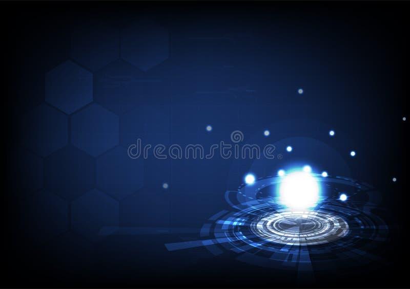 Technologie, Polygon und Energie Planetenastronomie digitalen circu stock abbildung