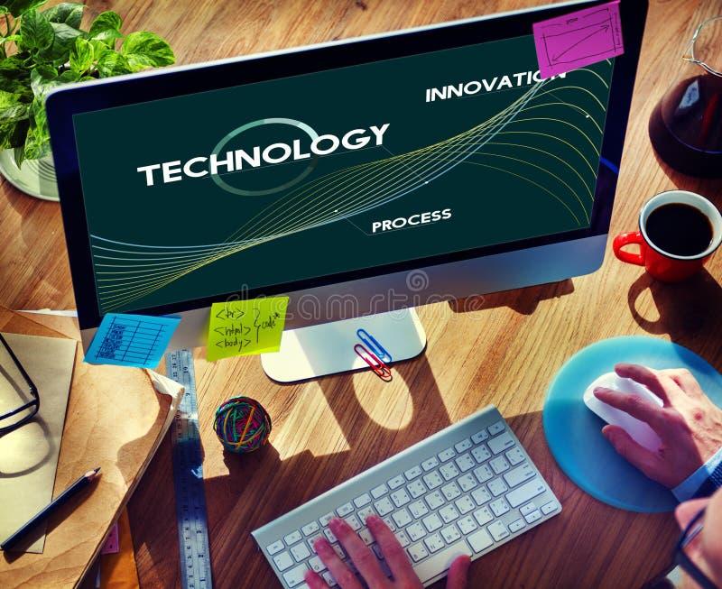 Technologie-Prozess erneuern Netz-Daten-Konzept stockbild