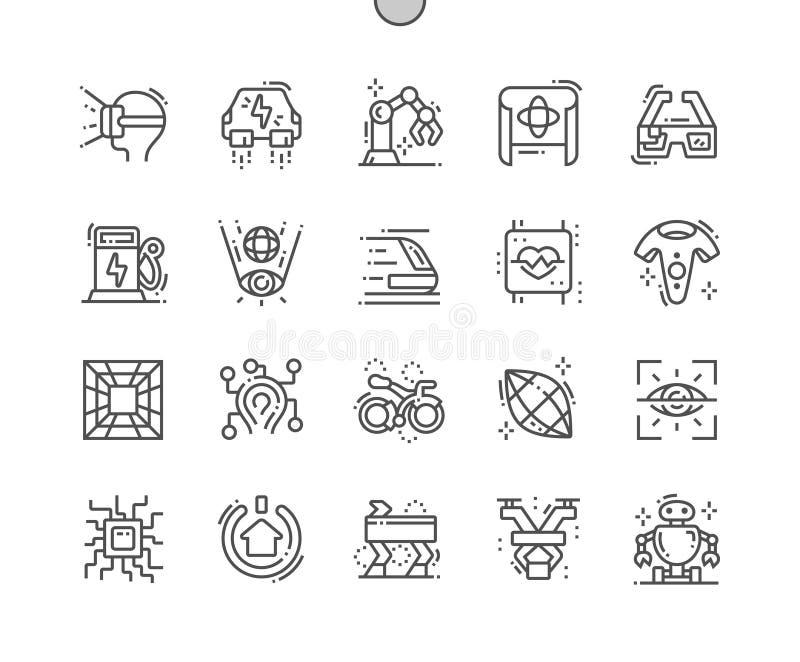 Technologie przyszłość Wykonujący ręcznie piksel Doskonalić wektor Cienkie Kreskowe ikony royalty ilustracja