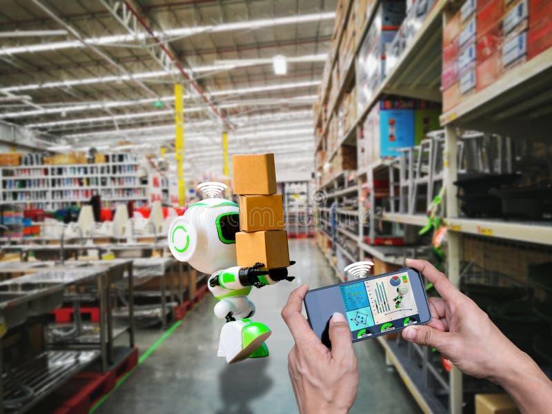 Technologie robotique futée de contrôle de wifi tenant l'industrie la boîte ou les robots fonctionnant à la place illustration de vecteur