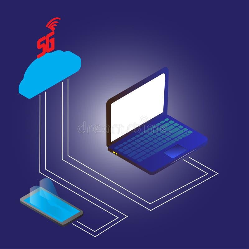 technologie sans fil de l'Internet 5g la nouvelle relient le laotop et le smartphone illustration de vecteur