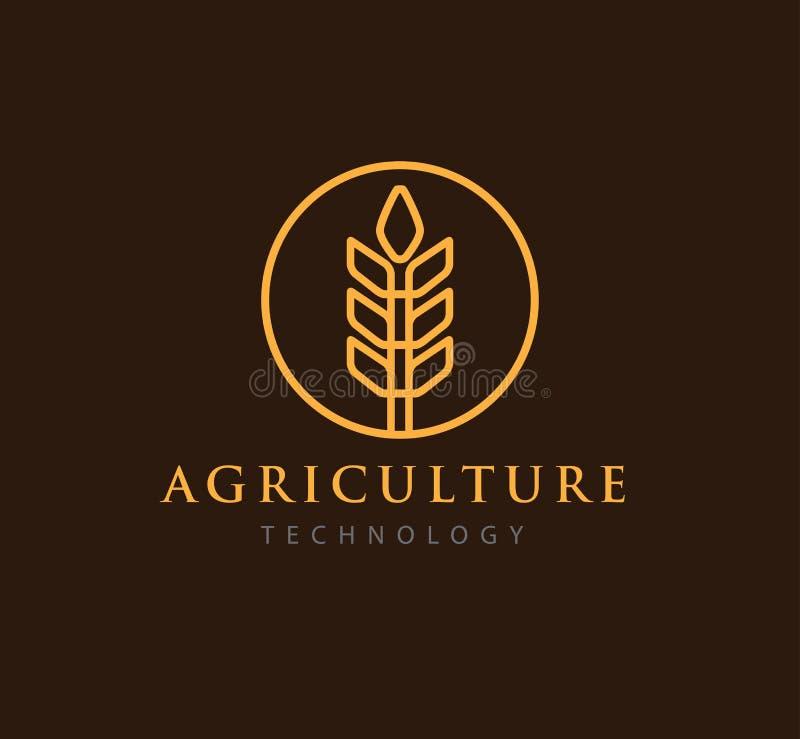 technologie simple d'agriculture avec la conception abstraite de logo de symbole de blé illustration de vecteur