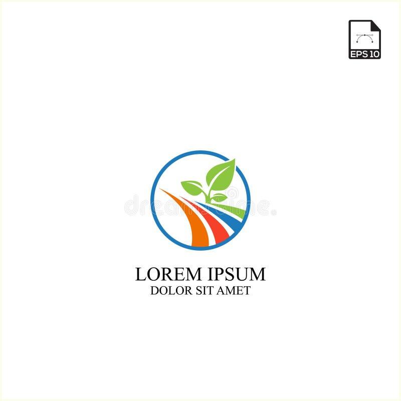 technologie simple et ferme d'agriculture de conception de logo de concept illustration libre de droits