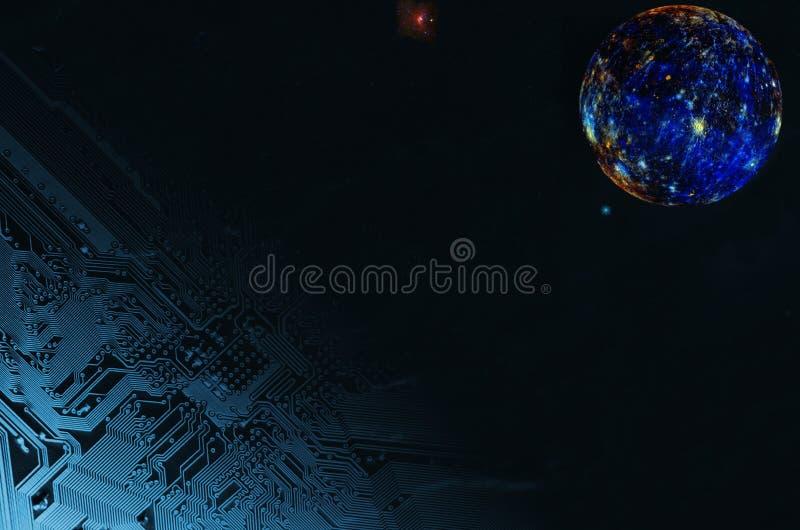 Technologie spatiale et pleine lune surréaliste images libres de droits