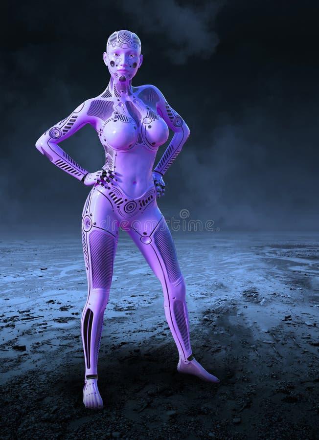 Technologie surréaliste, robot femelle, planète étrangère illustration de vecteur