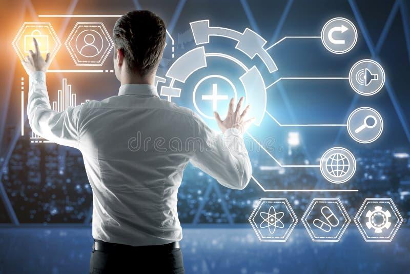 Technologie, toekomst en boekhoudingsconcept royalty-vrije stock foto's