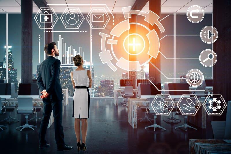 Technologie, toekomst, innovatie en netwerkconcept royalty-vrije stock foto's