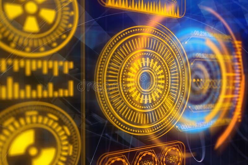Technologie, toekomst, media en communicatie concept stock illustratie