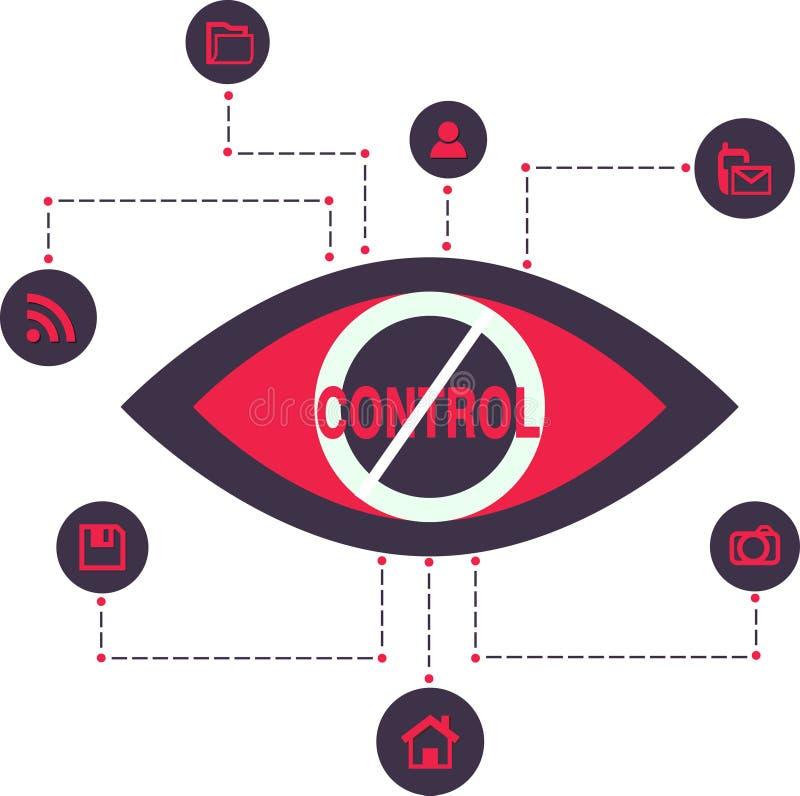 Technologie totale de surveillance d'espion de contrôle illustration stock