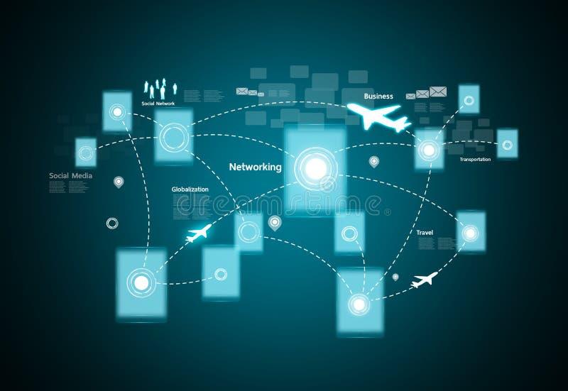 Technologie und Soziales Netz lizenzfreie abbildung