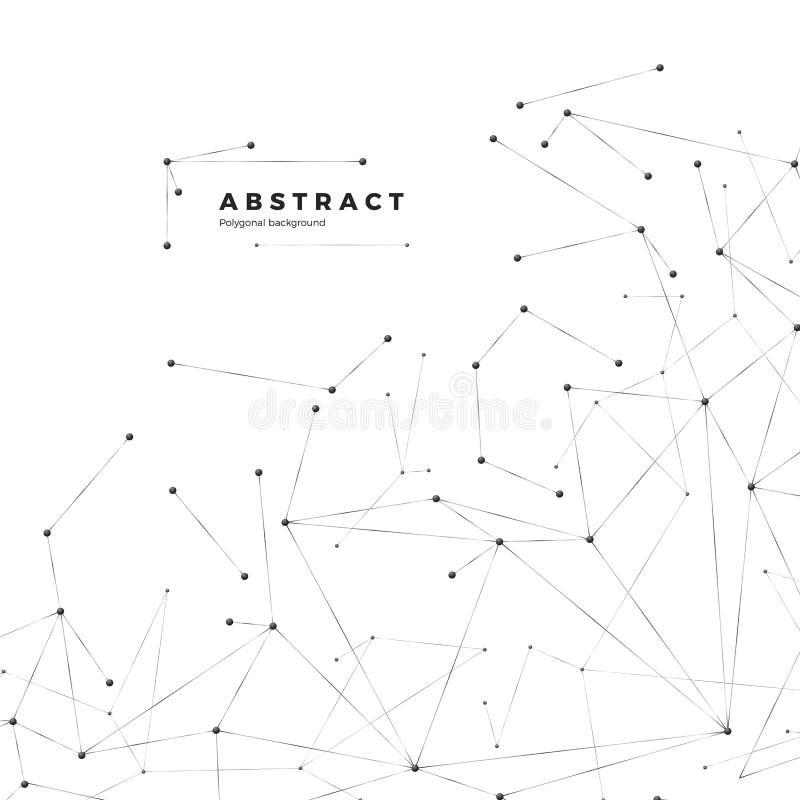 Technologie- und Wissenschaftshintergrund Abstraktes Netz und Knoten Plexusatomstruktur Vektor lizenzfreie abbildung