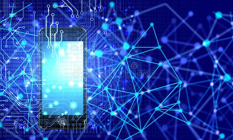 Technologie van het wereld de mobiele netwerk Technologiemededeling vector illustratie