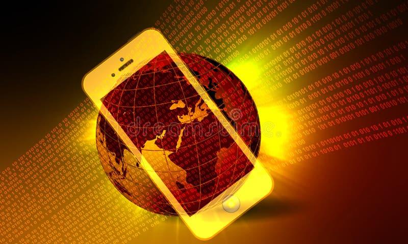 Technologie van het wereld de mobiele netwerk Technologiemededeling stock illustratie