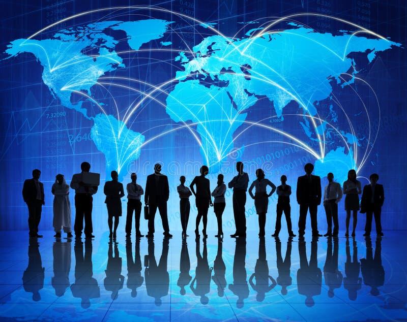 Technologie Verbindende Mensen rond de Wereld stock foto