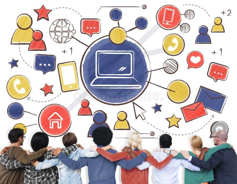 Technologie-Verbindungs-Medien-Leute-Grafik-Konzept lizenzfreie stockfotografie