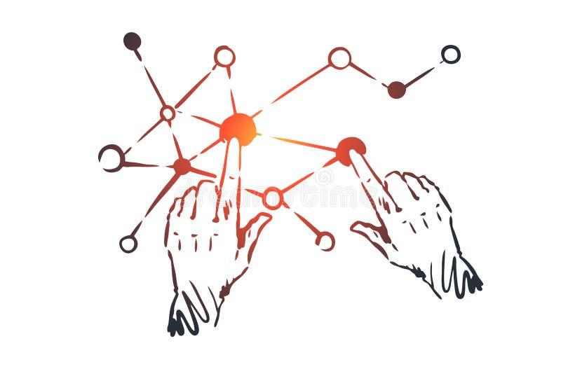 Technologie, wetenschap, mededeling, digitaal, interfaceconcept Hand getrokken geïsoleerde vector vector illustratie