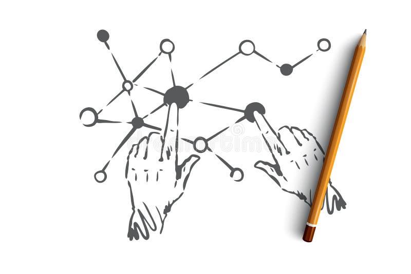 Technologie, wetenschap, mededeling, digitaal, interfaceconcept Hand getrokken geïsoleerde vector stock illustratie