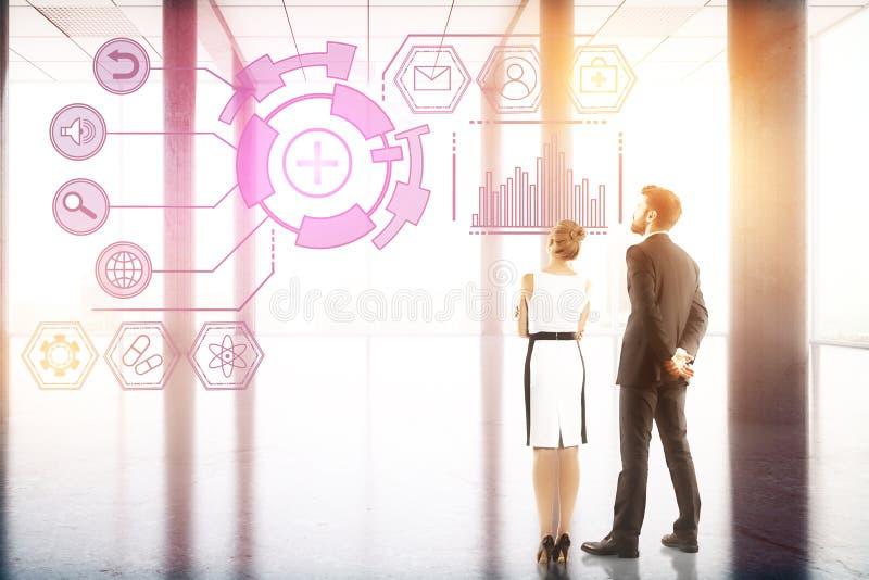 Technologie-, Zukunft-, Innovations- und Analytikkonzept lizenzfreies stockbild